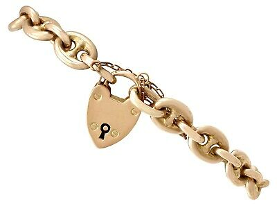 Antique 9k Yellow Gold Mariner Link Bracelet with Heart Padlock Clasp