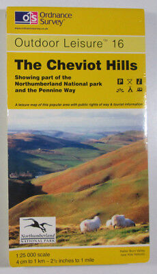 1995 Old Vintage OS Ordnance Survey Outdoor Leisure Map 16 The Cheviot Hills