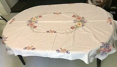Dimensions Cross Stitch Tablecloth Flowers & Berries 73214 COMPLETED 50 x 70