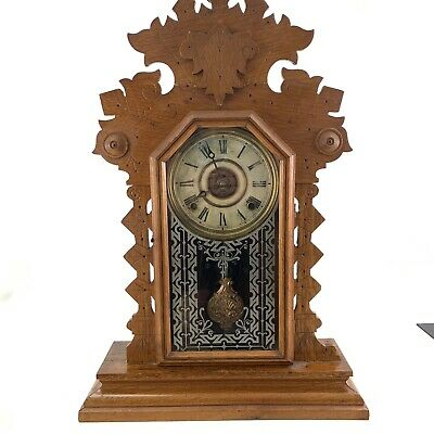 Antique Ingraham Gingerbread mantle clock 8 Day Chime 4U2FIX