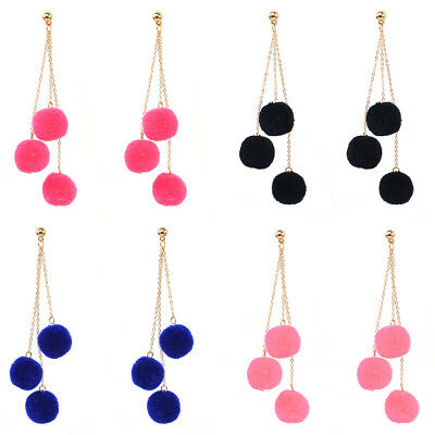 KF_ BL_ 1 Pair 3 Pompoms Plush Ball Multilayer Long Dangle Ear Drop Women Jewe