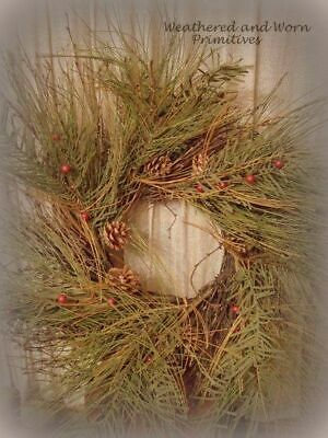 "Primitive Country Faux Mixed Pine, Twigs & Berries 22"" Diameter Winter Christmas"