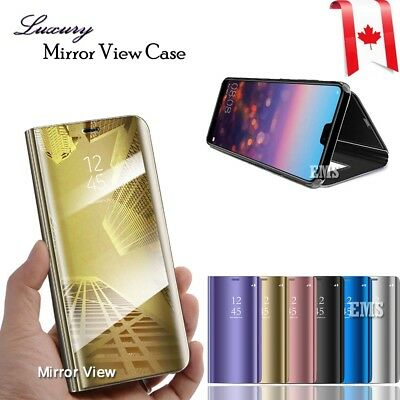 Luxury Mirror View Clear Stylish Flip PU Case Cover For Huawei P20 Lite P20 Pro