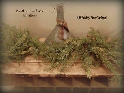 Primitive Country Faux Prickly Pine 6 Ft. Winter Christmas Garland
