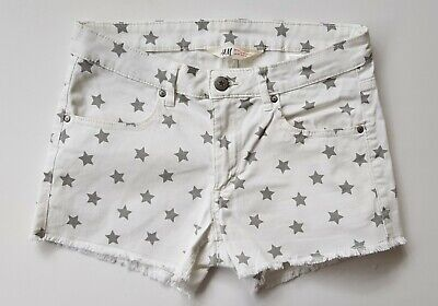 H&M - Girl's White Stretch Frayed Shorts/Silver Stars Age 13-14 Exc Cond