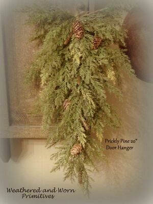 "Primitive Country Faux Prickly Pine 20"" Christmas Winter Door Teardrop Hanger"