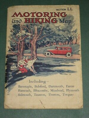 Vintage Map - Motoring and Hiking Map, Section LL, Devon, April 1937