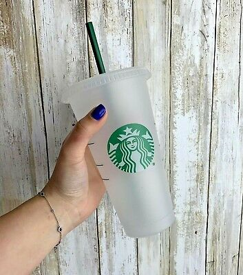 Starbucks Reusable Plastic Venti Cup Clear Frosted 24oz Cold Beverage & Straw