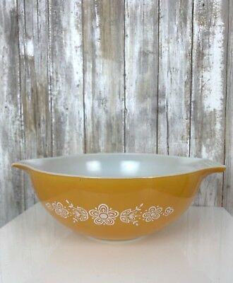 Vintage Pyrex Large LRG Mixing Bowl Butterfly Gold Yellow/Orange Floral USED