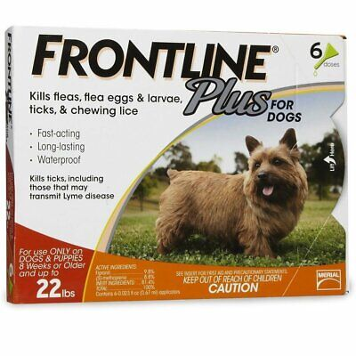 Merial Frontline Plus Flea and Tick Control for 5-22 Pound Dogs 6 pack