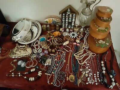 Vintage Hand Painted  Boxes, Joblot Jewellery, Silver Plated Items, Plus Other.