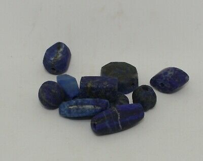 10 Ancient Carved Lapis  Beads -  0123