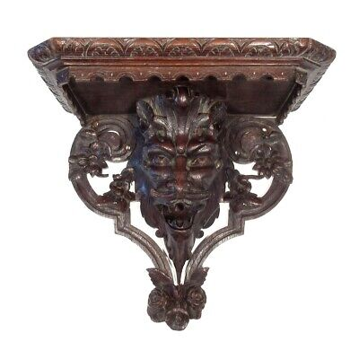 Antique French Hand Carved Wooden Wall Shelf, Gothic Gargoyle, Devil, Faun Satyr