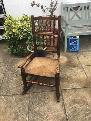 Old Oak Rush Seated Rocking Chair