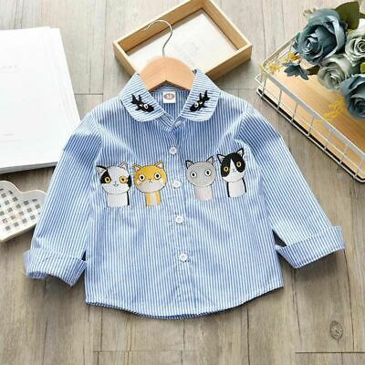 Toddler Girls Fall Spring Striped Shirt Cute Printed Animal Long Sleeve Clothes