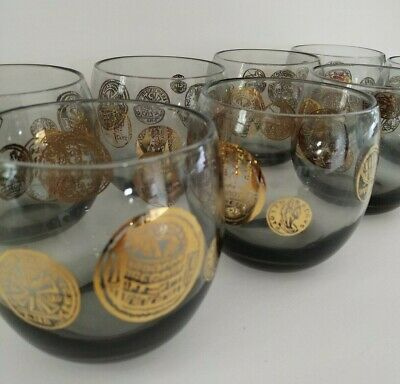 Set of 8 old fashion style mid century modern tinted bar glasses