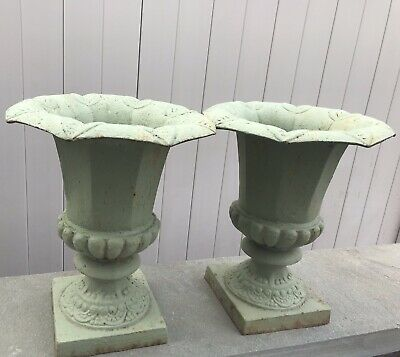 Pair of Vintage French Antique Cast Iron Planter Jardiniere in Pistachio Green