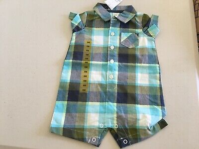New Carters Baby Boys plaid One Piece Shortall Romper 9M,12M,18M,24M