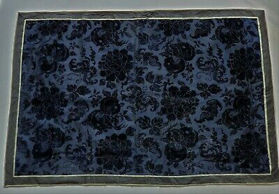 Antique Chinese Embroidered Silk & Velvet Brocade Panel Bats Flowers Fruit  34""