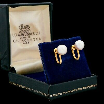 Antique Vintage Deco Retro 14k Gold Chinese Saltwater Akoya Pearl Stud Earrings
