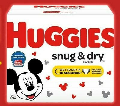 HUGGIES Snug & Dry Disposable Baby Diapers Size Newborn, 1, 2, 3, 4, 5, 6