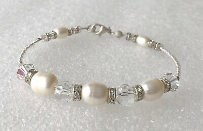 Vintage Genuine Pearl Iridescent Glass Bead Sterling Silver 925 Clasp Bracelet
