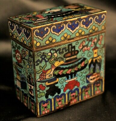 Small Antique 19th c. Qing Dynasty Chinese Cloisonne Box with Lid