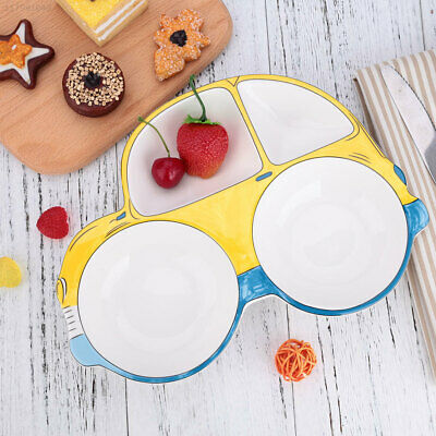 1E05 Baby Feeding Plate Yellow Dishes Tableware Snack Fruit L Car Shape Set