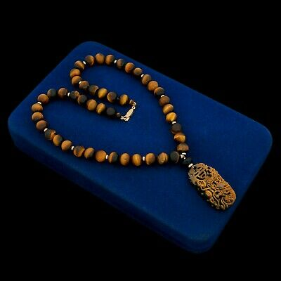 Antique Vintage Art Deco 14k Gold Chinese Carved Tigers Eye Onyx Bead Necklace