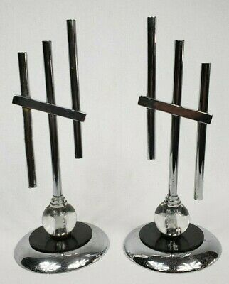 Antique Art Deco Chrome And Glass Taper Candle Holders