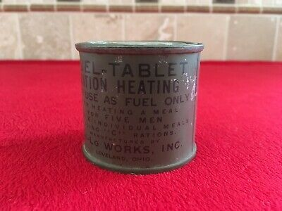 WW2 Unissued Original US Military Army Fuel Tablet Ration Heating Metal Tin Can
