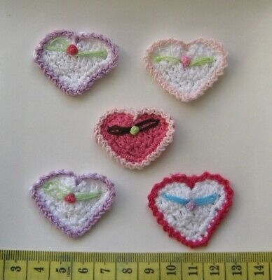 Set Of 5 X Beautiful Crochet Hearts - Various Colours. Free Postage.