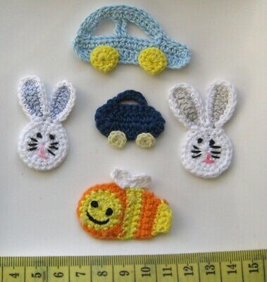 Set Of 5 X Very Cute Crochet Motives  - Various Colours. Free Postage.