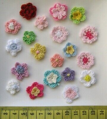 Set Of 20 X Very Cute Crochet Flowers  - Various Colours. Free Postage.