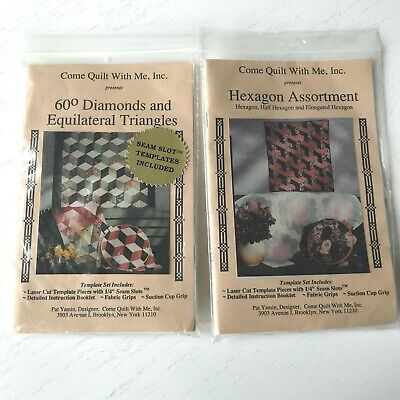 LOT 2 Vintage Come Quilt With Me Acrylic Templates Diamonds Equilateral Hexagons