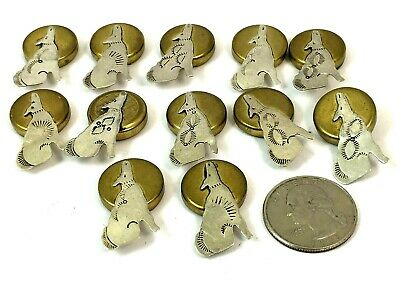 Lot of 12 Native American Sterling Silver Howling Coyote Button Covers