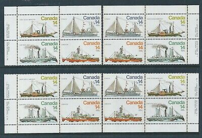 Canada #779a Ice Vessels Matched Set Plate Block MNH