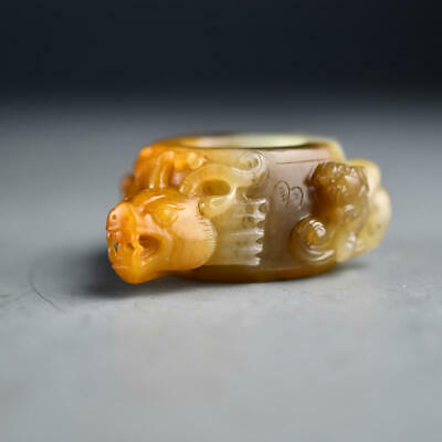 Chinese Exquisite Hand carved brave troops Carving Hetian jade Thumb ring