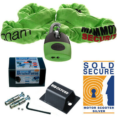 SOLD SECURE Silver,THATCHAM APPROVED OXFORD HARDCORE 2 METRE CHAIN AND LOCK