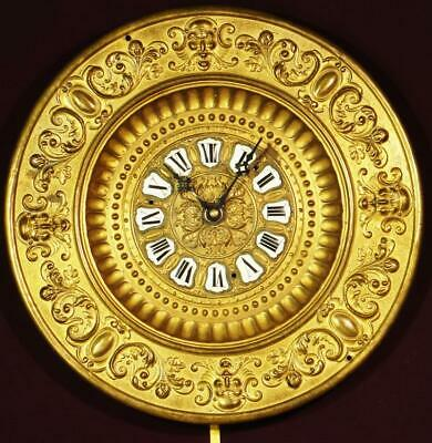 "ANTIQUE CLOCK: Ansonia Brass Repousse', 1800s, 14"" diameter, Porcelain Numbers"