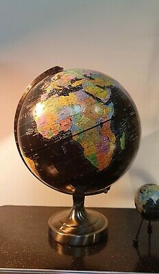 "1980s Replogle 12"" Starlight World Globe Black Ocean Globe Atlas Map"