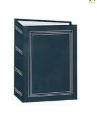 100 Book Bound Picture Photo Album (Dark Blue with Gold Border)