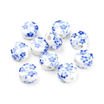 200 Handmade Porcelain Beads Flower Printed Smooth Round Loose Spacer White 12mm