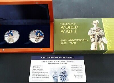 2008 Cook Islands 90th Anniv End of WW1 pair of  31gm 99.9% Silver $1 coins