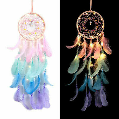 Dream Catcher Net  Lights Feathers Dreamcatchers Wind Chime Wall Hanging Decor