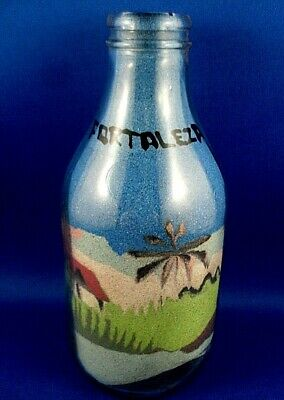 Retro HANDCRAFTED Brazil FORTALEZA 11cm Sand Art Display Bottle COLLECTABLE - Au