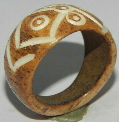 100% Natural Bone Carving Designer Handmade Fashion Jewelry Ring Size 9.5 R516