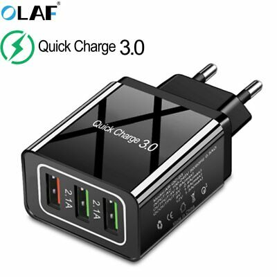 QC3.0 Fast Charger 3 USB Ports US EU Plug Travel Quick Wall Charge Power Adapter
