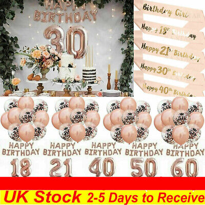 Rose Gold Foil Number Happy Birthday Balloon 16/18/21st/30/40/50/60th Decoration