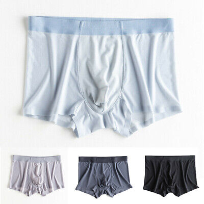 New Mens Breathable Boxers Ice Silk Underwear Cool Seamless Sexy Briefs Shorts